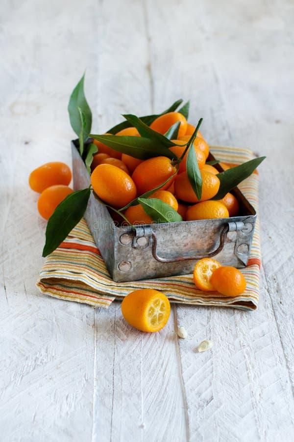 Frutos do Kumquat em um fundo de madeira imagens de stock royalty free