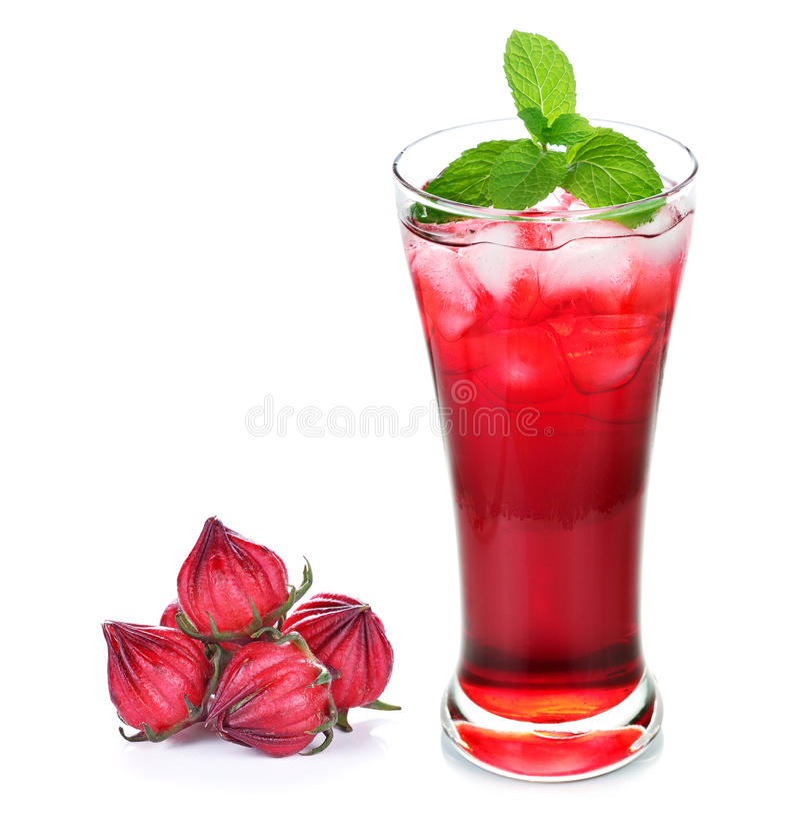 Frutos do sabdariffa ou do roselle do hibiscus e suco do roselle fotografia de stock