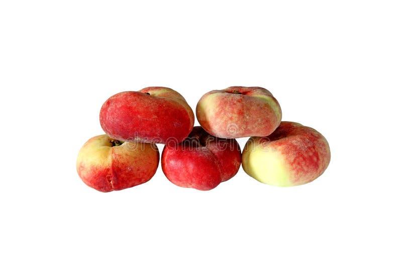 Frutos dos pêssegos lisos isolados imagens de stock
