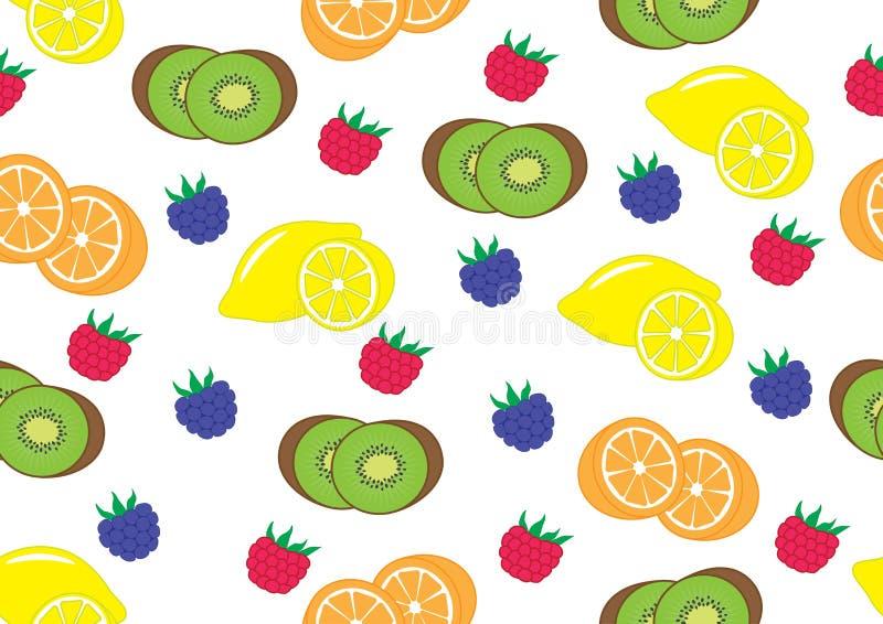 Frutos e bagas quivi, limão, laranja, amora-preta, framboesa ilustração do vetor