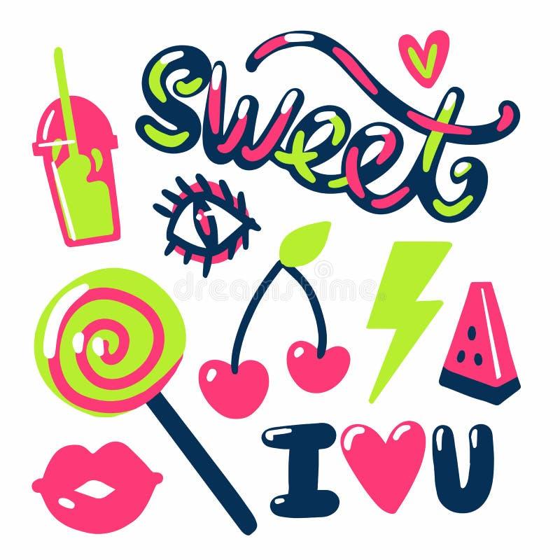 Frutos e texto doces dos doces das etiquetas fotos de stock