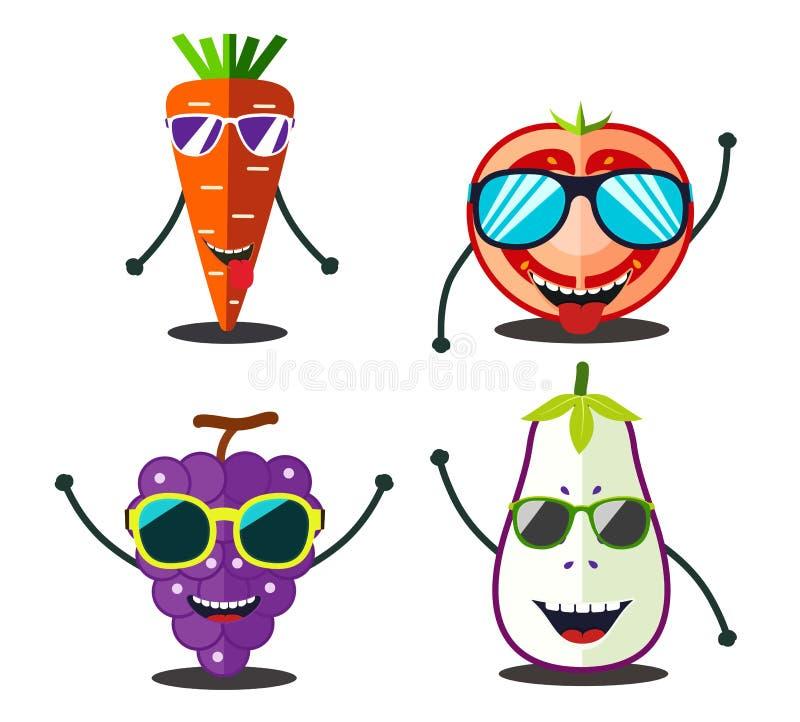 Frutos engraçados ajustados Projete fatias do alimento dos desenhos animados de cenoura, tomate, ilustração stock
