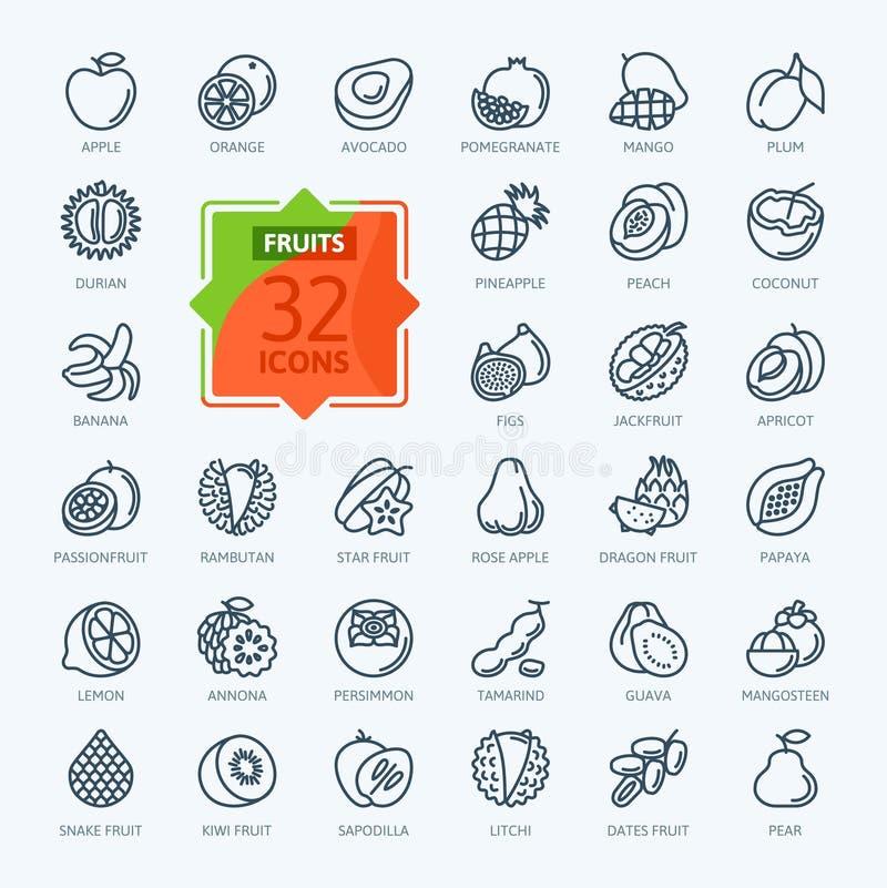 Frutos, frutos exóticos, vegetariano - linha fina mínima grupo do ícone da Web Cole??o dos ?cones do esbo?o fotos de stock