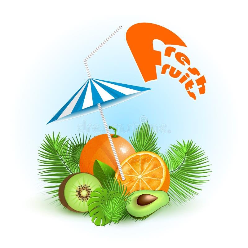 Frutos frescos com folhas de palmeira e guarda-chuva de praia ilustração stock