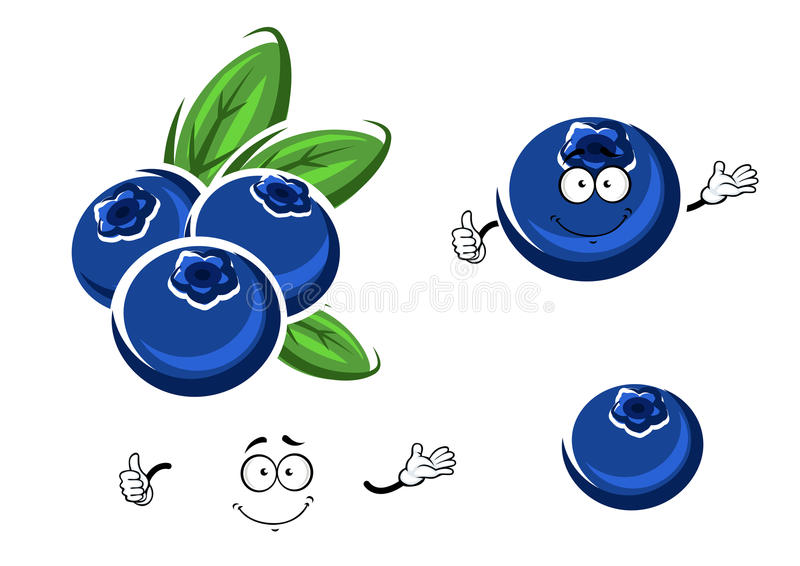Frutos frescos do mirtilo dos desenhos animados no branco ilustração do vetor