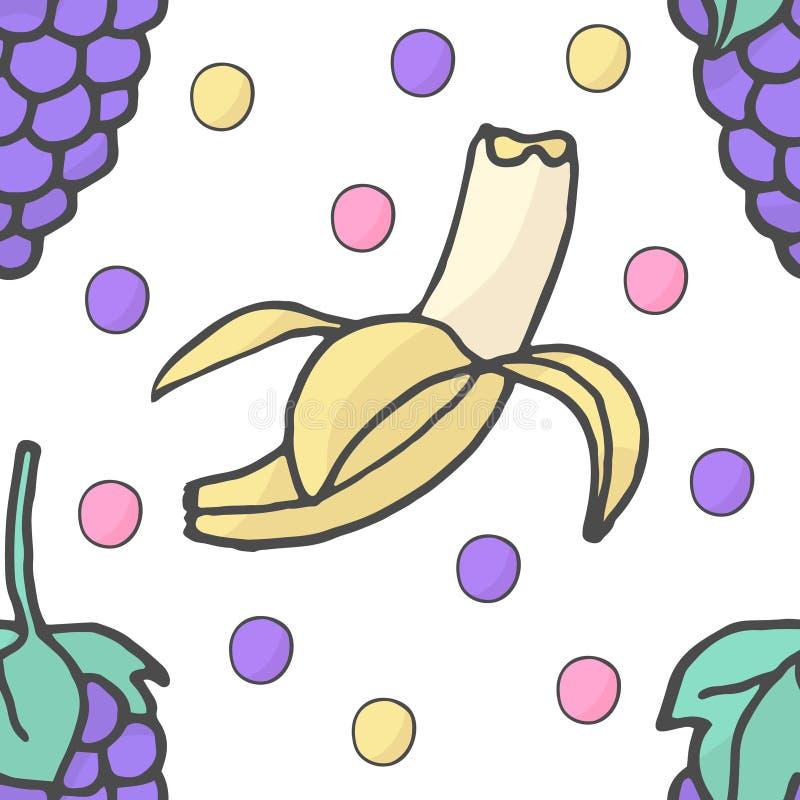 Frutos frescos dos desenhos animados no estilo liso da garatuja Uva, banana Teste padrão sem emenda ilustração royalty free