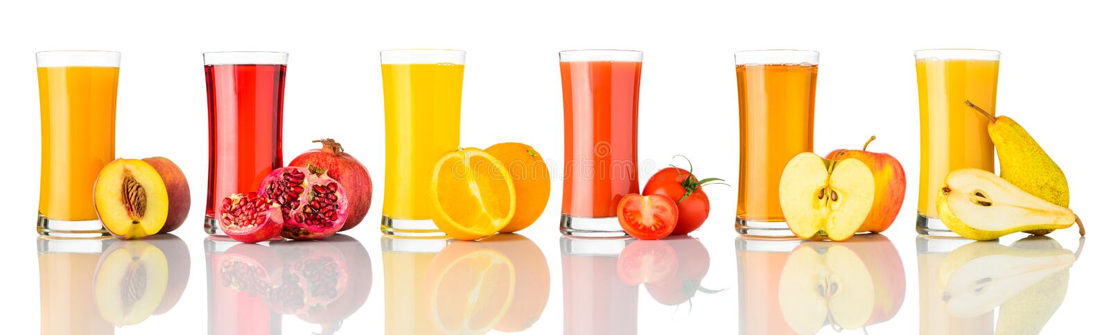 Frutos frescos Juice Isolated na colagem branca imagem de stock