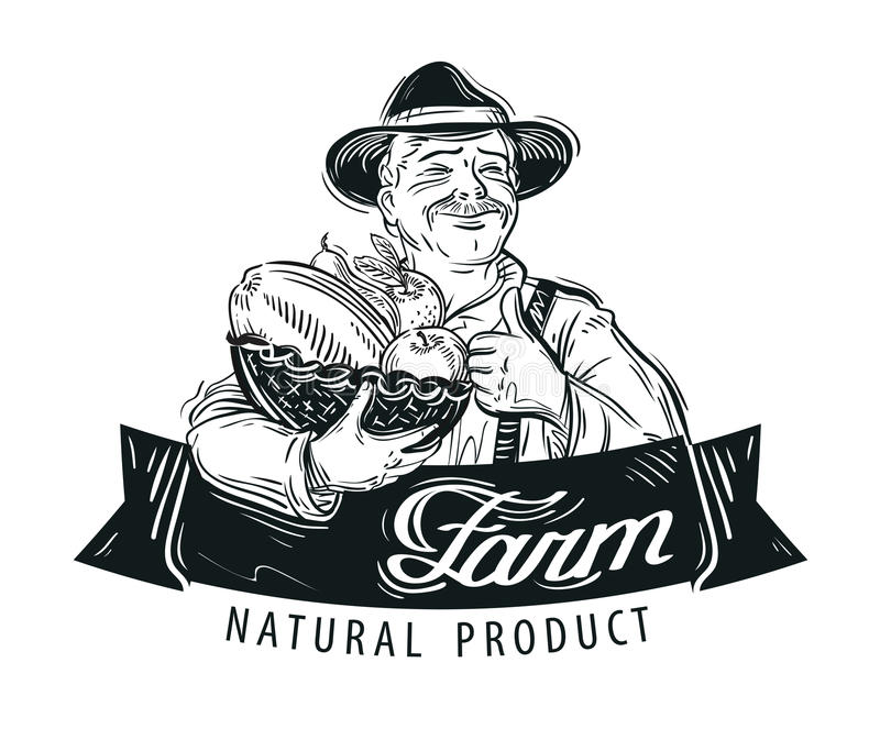 Frutos frescos, molde do projeto do logotipo do vetor do alimento ilustração stock