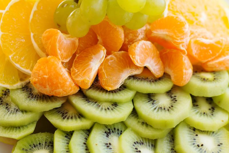 Frutos maduros frescos sortidos Fundo do conceito do alimento Vista superior fotos de stock