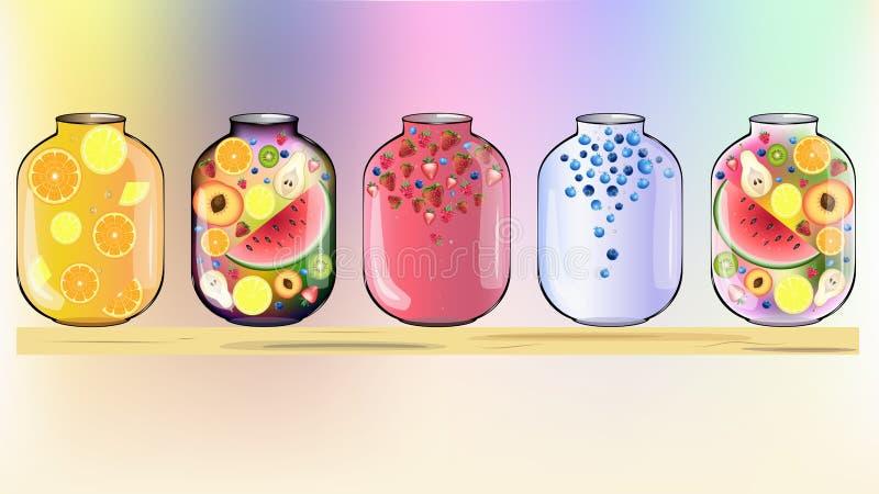 Frutos no fundo dos frascos fotografia de stock