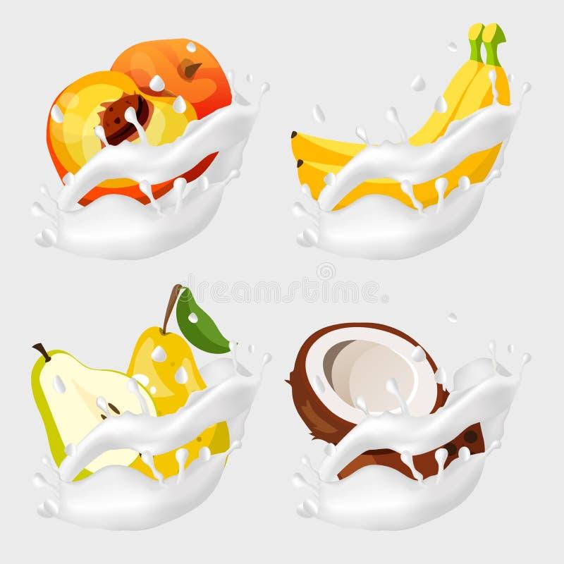 Frutos no respingo do leite ilustração stock