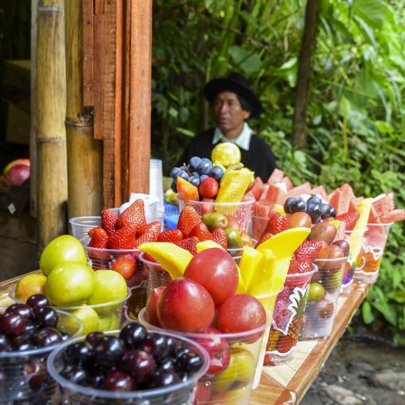 Frutos tropicais locais para a venda com o homem equatoriano nativo no fundo, foco seletivo fotografia de stock royalty free