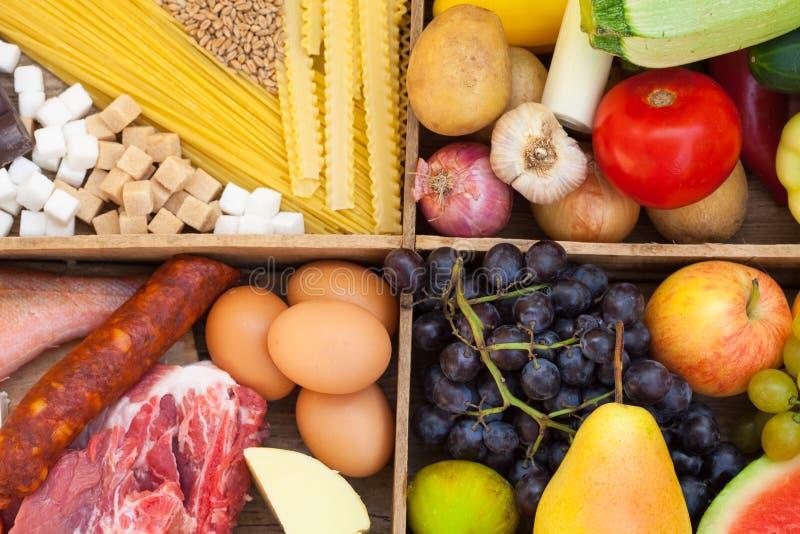 Frutos, vegetais, carne, peixes e massa foto de stock