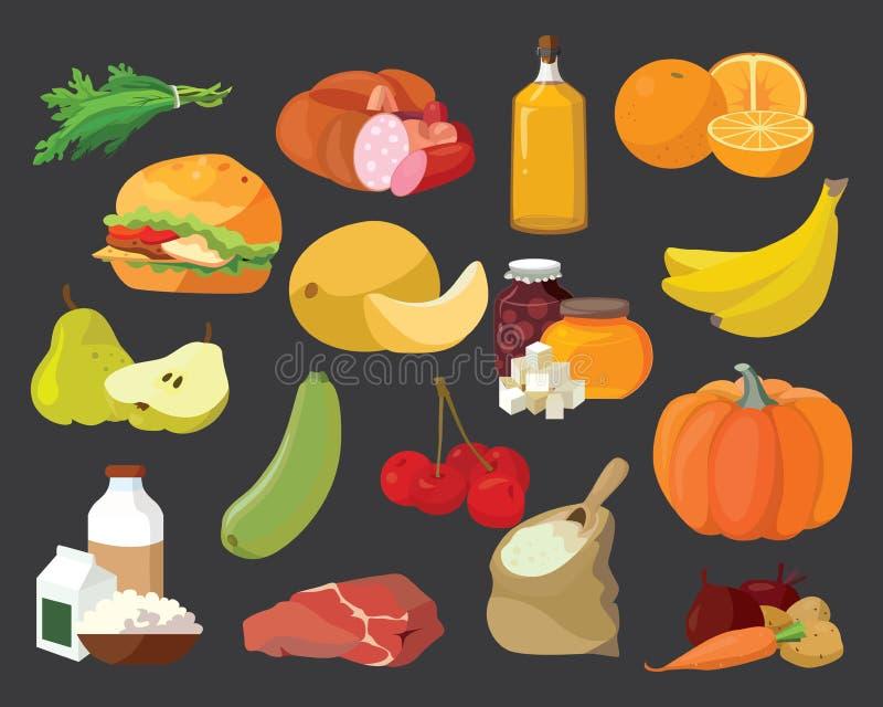Frutos, vegetais, gorduras, carne, cereais, produtos láteos ilustração royalty free