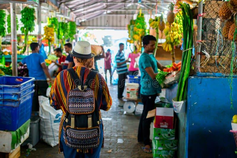 Frutta all'interno fresca e mercato nel maschio della città, la capitale delle verdure delle Maldive fotografie stock libere da diritti