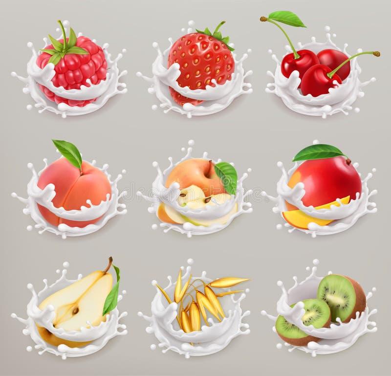 Frutta, bacche e yogurt l'icona di vettore 3d ha messo 1 illustrazione vettoriale