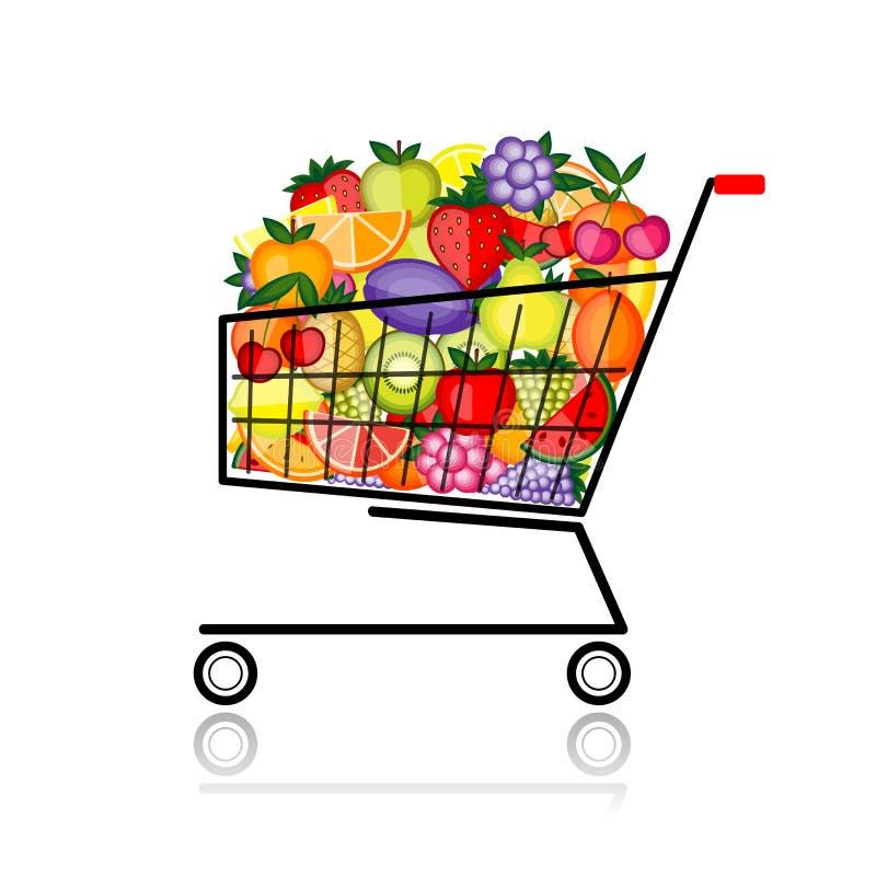 Frutta in carrello di acquisto per il vostro disegno illustrazione di stock