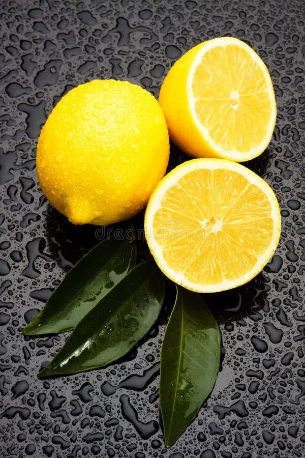 Frutta del limone su priorità bassa bagnata fotografie stock