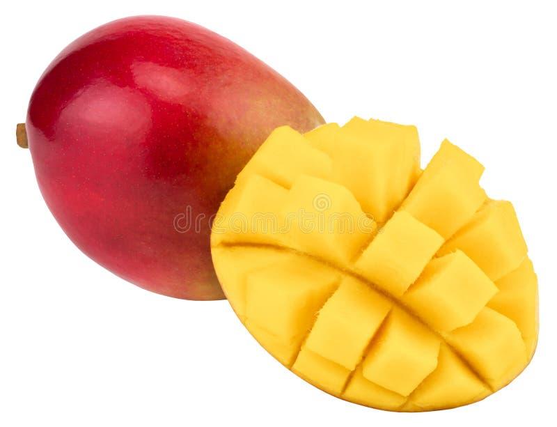 Frutta del mango con i cubi e le fette del mango Isolato su un BAC bianco immagine stock