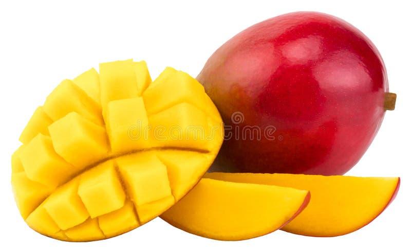 Frutta del mango con i cubi e le fette del mango Isolato su un BAC bianco fotografie stock libere da diritti