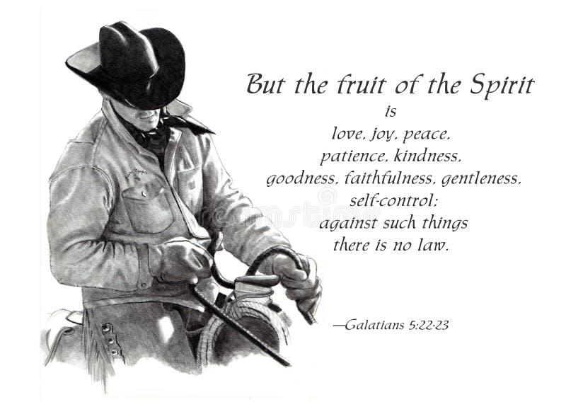 Frutta del verso della bibbia di spirito con il cowboy royalty illustrazione gratis