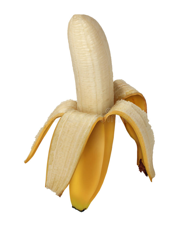 Frutta della banana sbucciata fotografie stock