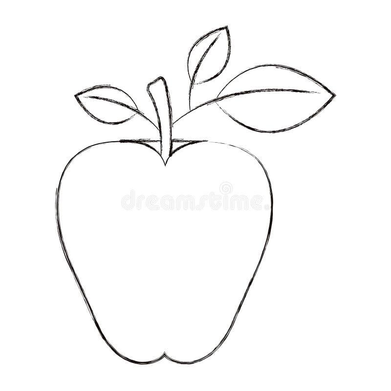 Frutta della mela di immagine della siluetta vaga schizzo con il gambo e le foglie illustrazione di stock