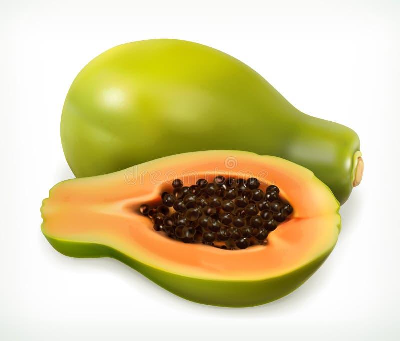 Frutta della papaia Innesta l'icona illustrazione vettoriale