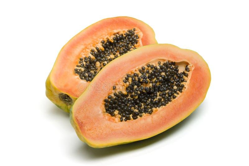 Frutta della papaia su priorità bassa bianca fotografia stock libera da diritti