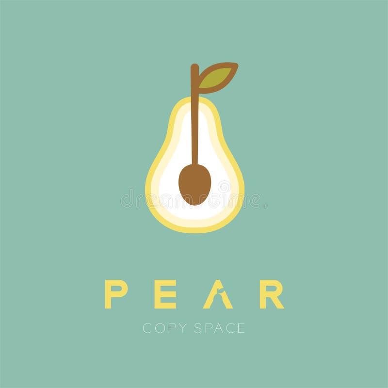 Frutta della pera con l'illustrazione di progettazione stabilita dell'icona di logo del cucchiaio isolata su fondo verde illustrazione di stock