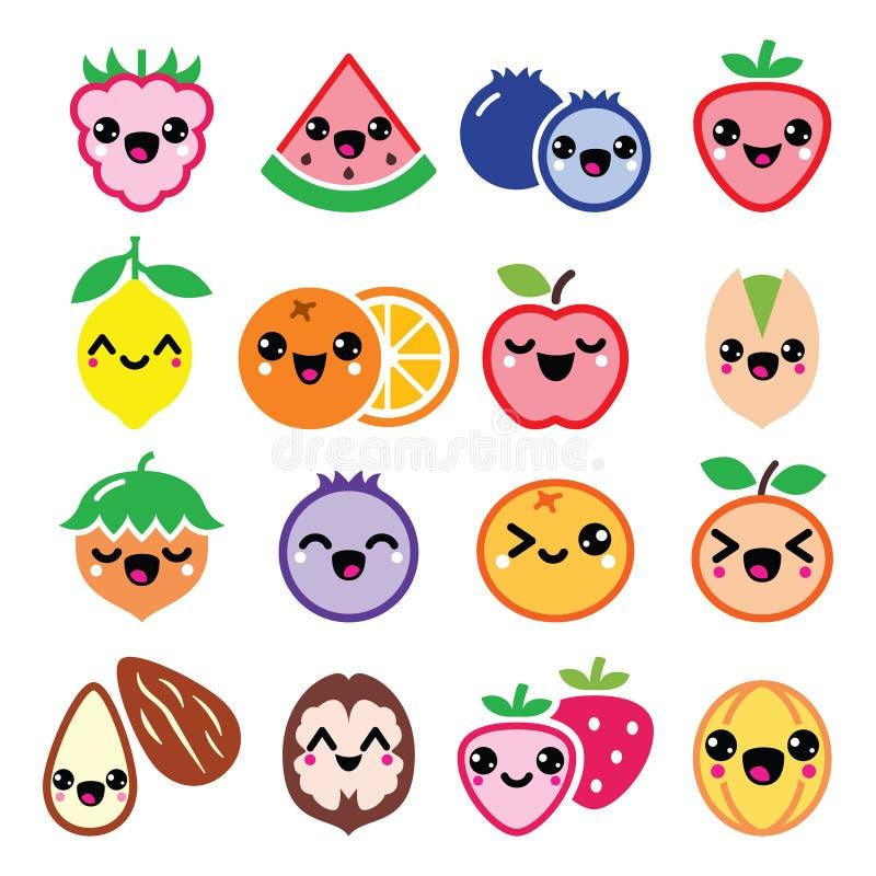 Frutta di Kawaii e progettazione di caratteri sveglia matta illustrazione vettoriale