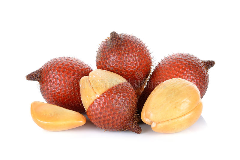 Frutta di Salak, zalacca di Salacca sui precedenti bianchi immagine stock libera da diritti