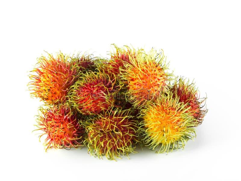 Frutta dolce del Rambutan della Tailandia, isolata su fondo bianco immagini stock libere da diritti