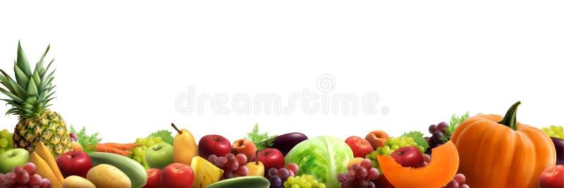 Frutta e composizione orizzontale nelle verdure illustrazione vettoriale