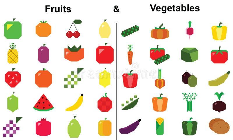 Frutta e grande insieme di vettore delle verdure illustrazione di stock