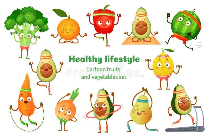 Frutta e verdure di sport Le mascotte sane di stile di vita, sport della frutta si esercitano e vettore del fumetto di allenament illustrazione vettoriale