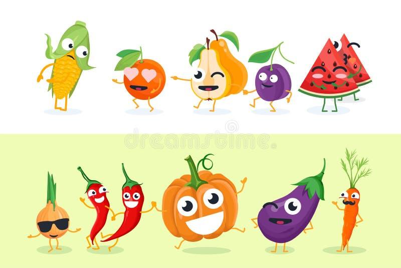 Frutta e verdure divertenti - l'insieme del vettore ha isolato le illustrazioni dei caratteri illustrazione di stock