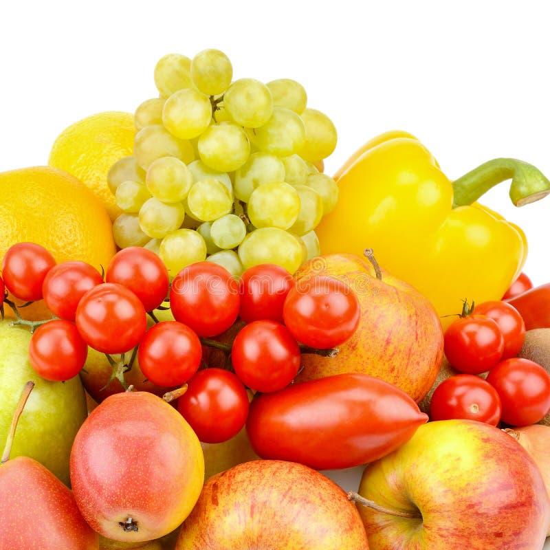 Frutta e verdure isolate su fondo bianco Alimento sano immagini stock libere da diritti