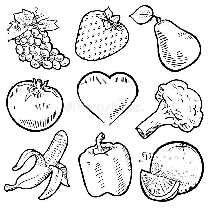 Frutta e verdure sane del cuore royalty illustrazione gratis