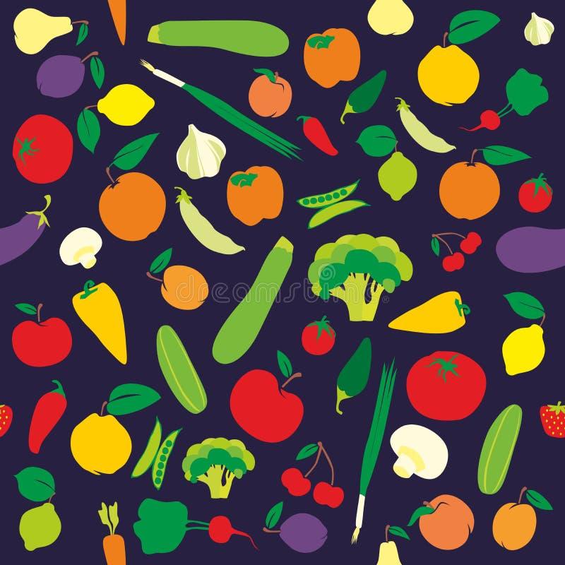 Frutta e verdure senza giunte del reticolo illustrazione di stock