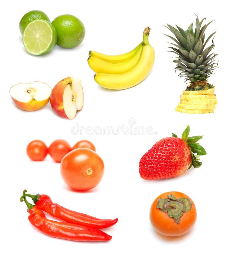 Frutta e verdure su bianco fotografia stock libera da diritti