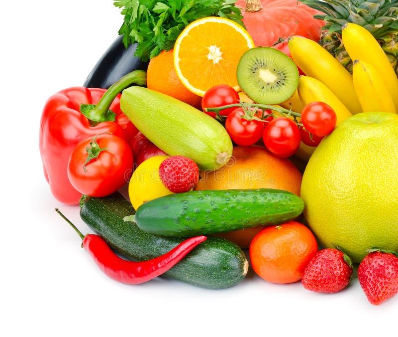 Frutta e verdure su priorità bassa bianca immagini stock