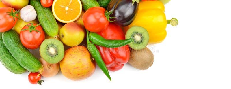 Frutta e verdure su priorità bassa bianca Vista superiore Franco immagini stock libere da diritti