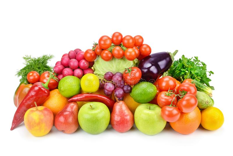 Frutta e verdure su una priorità bassa bianca fotografie stock