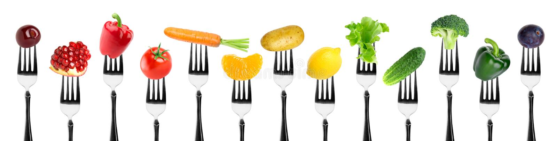 Frutta e verdure sulla forcella fotografia stock libera da diritti