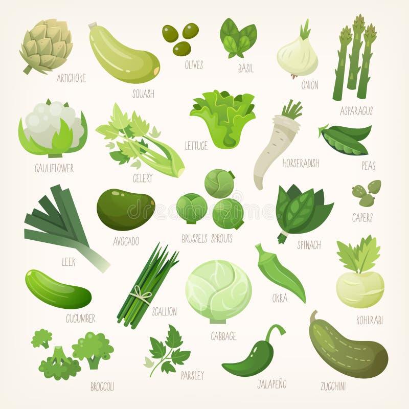 Frutta e verdure verdi con i nomi illustrazione di stock