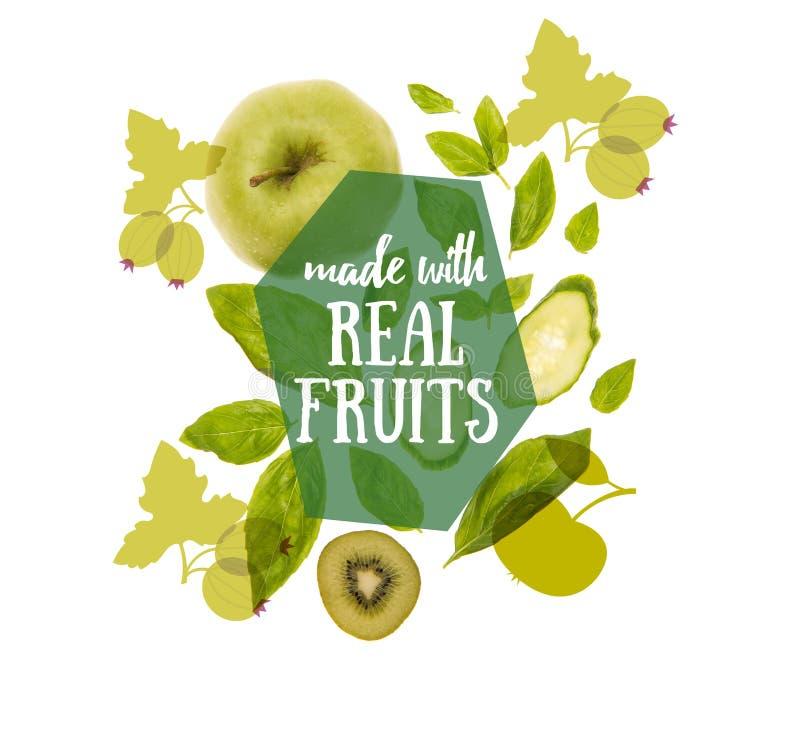 Frutta e verdure verdi organiche differenti fotografia stock