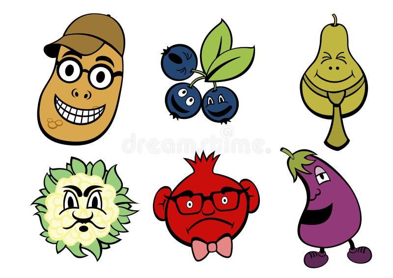 Frutta ed icone della verdura impostate royalty illustrazione gratis