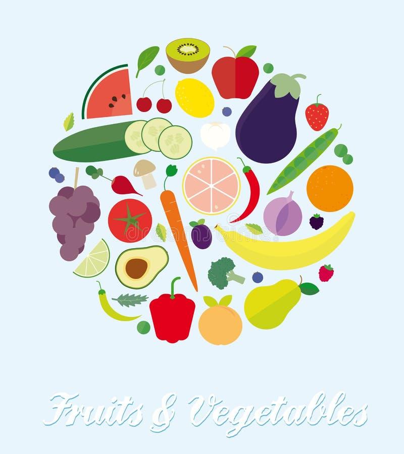 Frutta ed illustrazione piana semplice di vettore dell'assortimento delle verdure illustrazione vettoriale