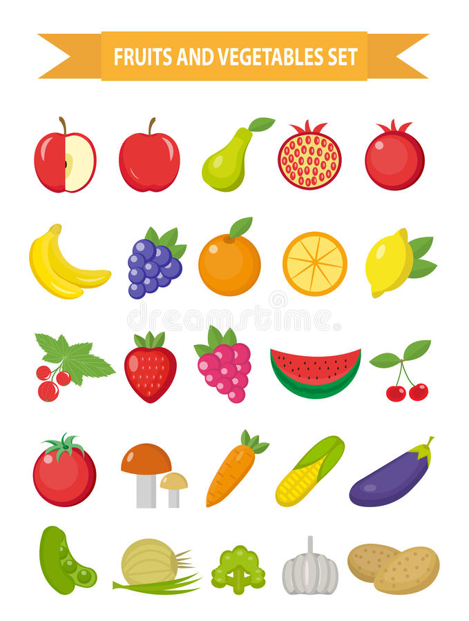 Frutta ed insieme dell'icona delle verdure, stile piano La frutta, le bacche e le verdure messe hanno messo isolato su un fondo b royalty illustrazione gratis